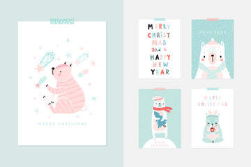 Wall Mural - Christmas card set with Cute Bears celebrating Christmas eve, handwritten letterings and other elements. Funny characters. .