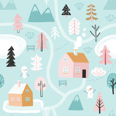 Wall Mural - Seamless pattern with Cute winter trees. Childish Colorful Background.