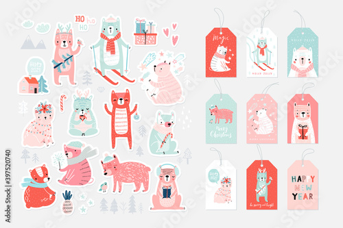 Wall mural Christmas card set with Cute Bears celebrating Christmas eve, handwritten letterings and other elements. Funny characters.