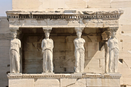 View of The Caryatid porch of the Erechtheion  at Acropolis in Athens, Greece