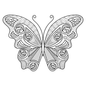 Butterflies for adult and older children anti stress coloring pages in line art style.
