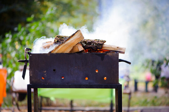 metal brazier with fire wood for barbeque picnic outdoors during summer weekend, heavy smoke before cooking grilled meat, fish, vegetables