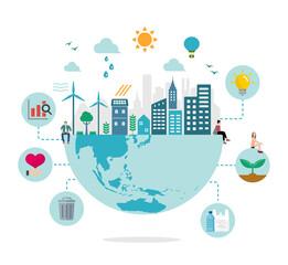 Obraz Ecology life, eco city vector illustration ( ecology concept , nature conservation ) - fototapety do salonu
