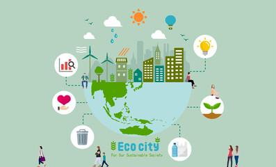 Fototapeta Ecology life, eco city vector banner illustration ( ecology concept , nature conservation ) obraz