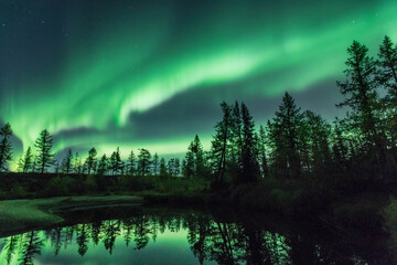 Northern lights reflected in the water