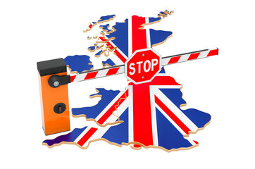 Fototapeta Border close in the United Kingdom. Customs and border protection concept. 3D rendering