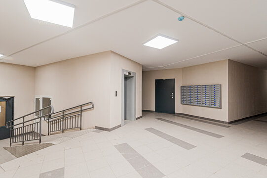 Russia, Moscow- April 17, 2020: interior public place, house entrance. doors, walls, staircase corridors