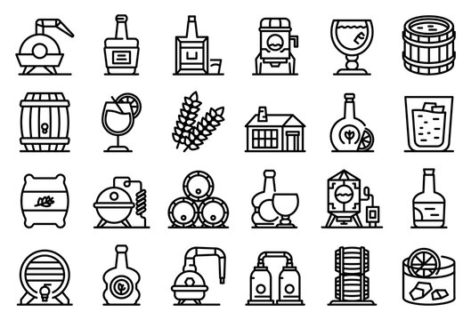 Bourbon icons set. Outline set of bourbon vector icons for web design isolated on white background