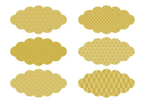 和柄の雲 イラスト素材 金色(麻の葉 七宝 花菱 鹿の子絞り 亀甲 矢絣)