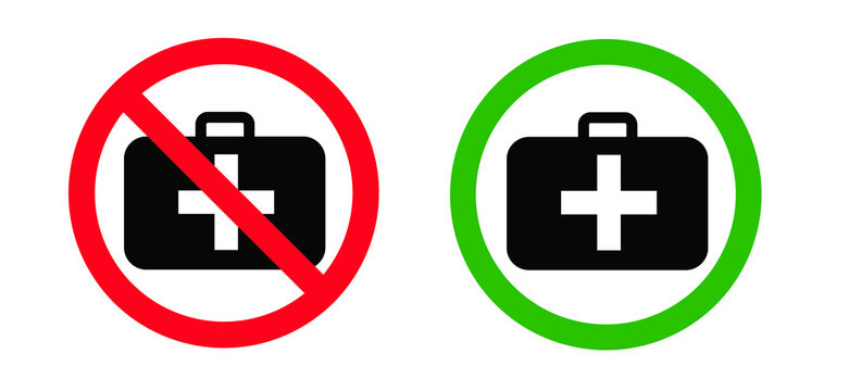 No Emergency defibrillator AED AID CPR location signs. Stop not medic bag kit station inside for doctor. Flat vector medical logo symbol sign Automated externalicon label icon No ban signs