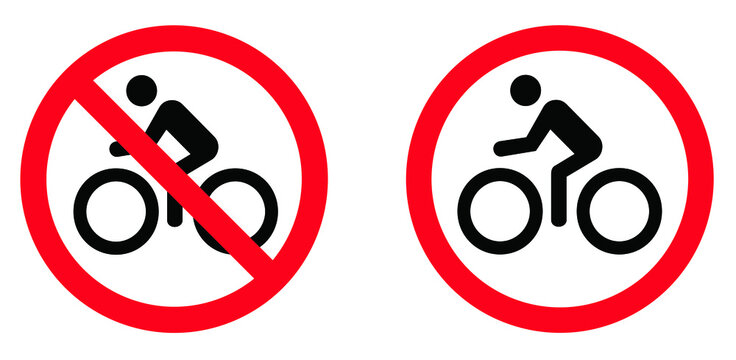 Stop forbidden, no bikes parking, no ban. Forbit, no bicycle sign. Flat vector pictogram. Bicycles traffic Road Sign, bike road, way, passage warning sign symbol. Do not enter. Allowed, attention.