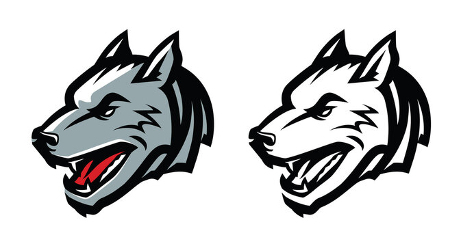 Wolf head mascot emblem. Aggressive wild animal vector illustration
