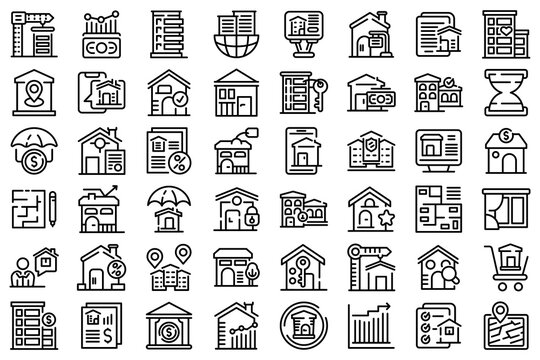 Property investments icons set. Outline set of property investments vector icons for web design isolated on white background