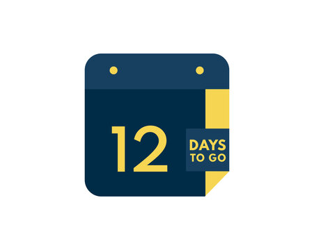 12 days to go calendar icon on white background, 12 days countdown, Countdown left days banner image