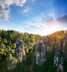 Fototapeta Sandstone rock in Prachovske skaly, Bohemian Paradise (Cesky Raj), Czechia.