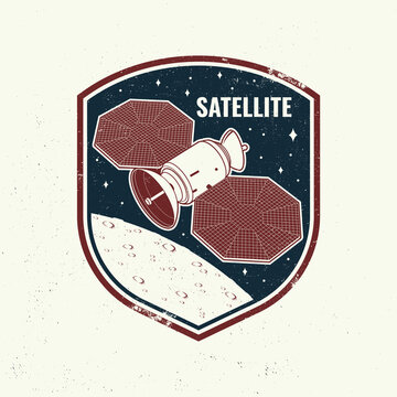Satellite logo, badge, shirt, t, design, print. Vector. Concept for shirt, print, stamp, overlay or template. Vintage typography design with space satellite dishes and mars silhouette.