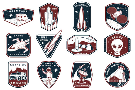 Set of space mission logo, badge, patch. Vector. Concept for shirt, print, stamp. Vintage typography design with space rocket, alien, mars city, camper van on the moon and earth silhouette