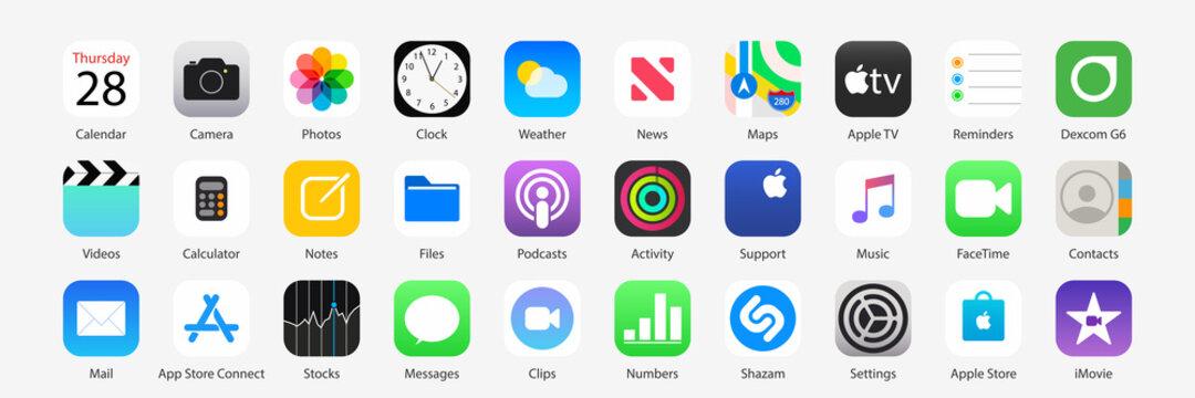 iOS 13/14 icons Apple inc: Apple Store, Apple TV, iTunes, Podcasts, iMovie, iBooks, Apple TV, FaceTime, SplitMetrics, News, Clock, Wallet, Notes, Phone, Maps etc. Kyiv, Ukraine - December 6, 2020