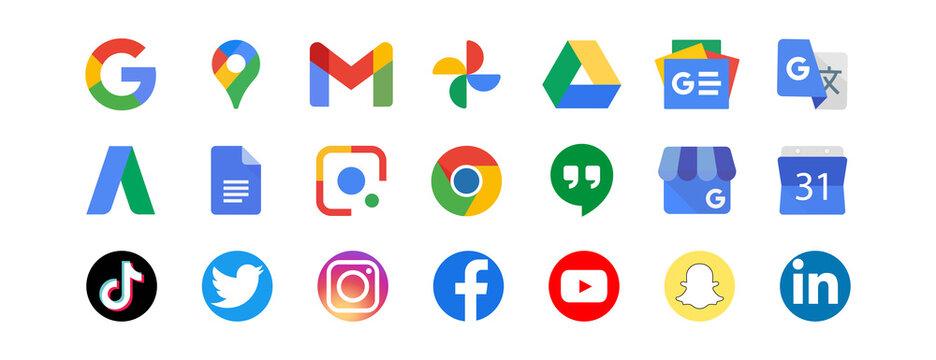 Google LLC. Apps from Google. Official logotypes of Google Apps. Tiktok, Twitter, Instagram, Facebook, Youtube, Zoom etc- social media, video internet services icons. Kyiv, Ukraine - December 6, 2020