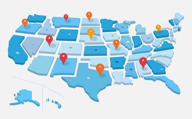 Fototapeta Geo mappa degli Stati Uniti d'America