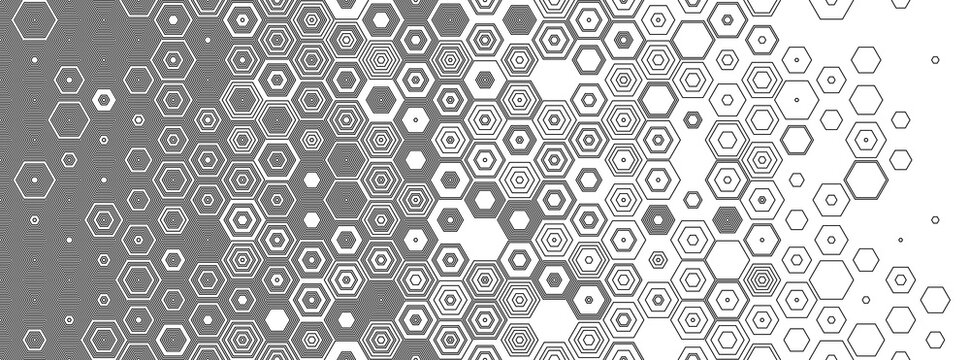 Hexagonal abstract seamless background. Vector geometric background with fade linear hexagons