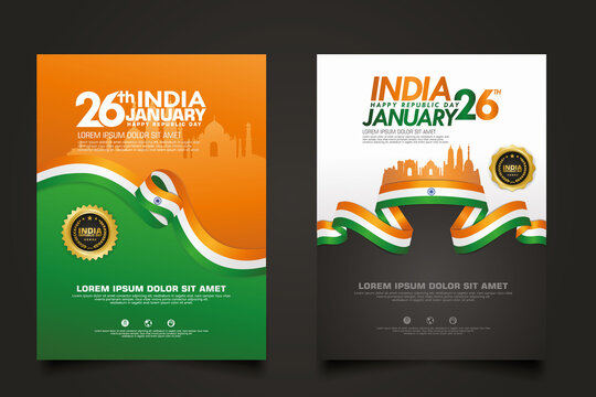 set poster promotions India happy Republic Day background template