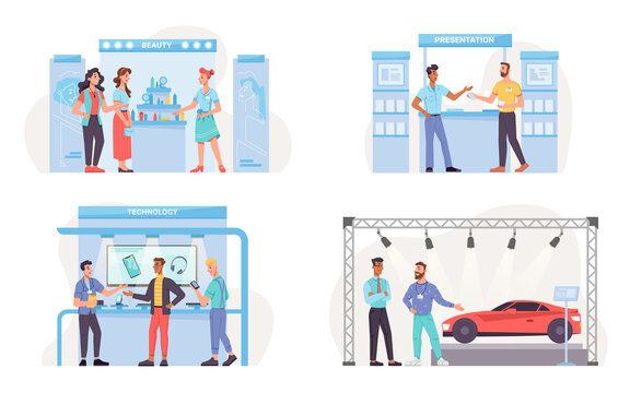 Set of expo exhibition stands isolated beauty shop, mobile goods presentation, sale of modern gadgets. Vector new vehicle car motor show, promotion of cosmetics, demonstration of auto and phones