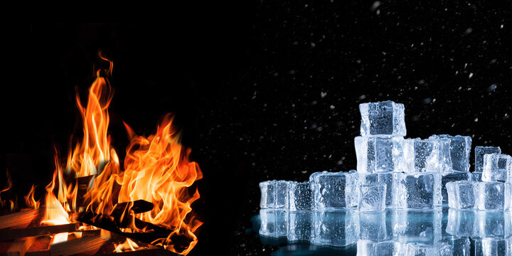 ice cubes and crushed ice versus fire