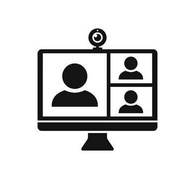 Web conference icon with people and web camera on computer screen, digital communication, teaching media video conference icon, home office in quarantine times – stock vector