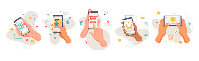 Fototapeta Smartphones screens showing applications, isolated set of icons of hands with mobile phones. Shopping and social media, networks and games. Entertainment and chatting online, vector in flat style obraz