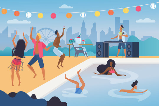 People dance in pool party vector illustration. Cartoon happy man woman dancer characters dancing, jumping in water resort swimming pool, have fun in tropical music beach cocktail party background