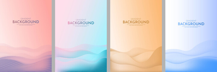 Canvas Prints Blue sky Vector illustration. Minimalist wavy posters. Bright gradient color. Futuristic style. Design for book cover, flyer, leaflet, brochure. Abstract landscapes: desert, hills, sunset scene, sea waves.