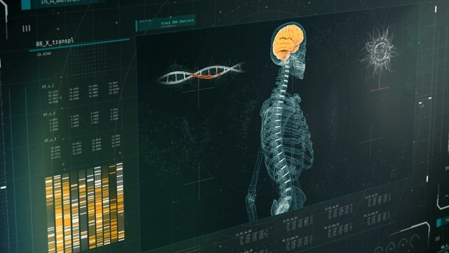 DNA research, body scan results on screen, virus detection, genetic disorder. Medical software interface with DNA scan results, anomaly detected, lab equipment, mri. 3D illustration