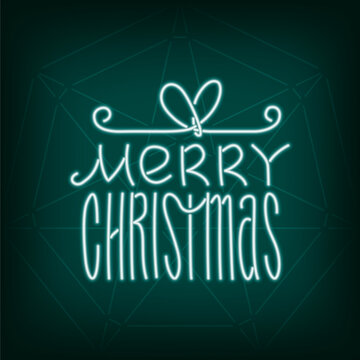 Merry Christmas Neon Sign Style Logo as Glowing Gift Box Shape Lettering Composition - White on Turquoise Seven Point Star of Bethlehem Background - Doodle Design