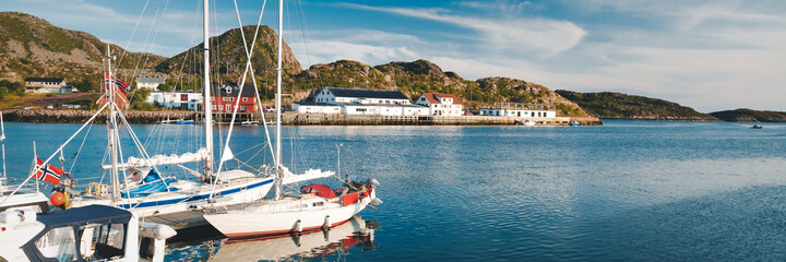 Traditional village of Lofoten in Norway, beautiful cityscape, Skrova