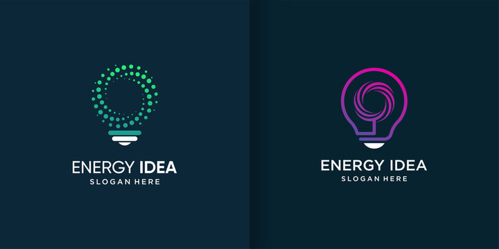 Energy idea logo template with diferent element concept Premium Vector