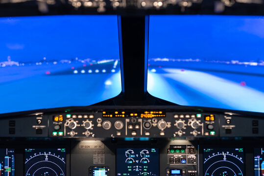 Gdansk, Poland - December 06, 2020: View of the runway from the flight simulator cabin during training