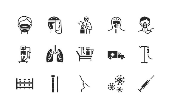 Covid-19 protection and medical test to detect it. flat glyph icons set. Vector illustration included artificial lung ventilation, on faces in ppe. Protective clothing