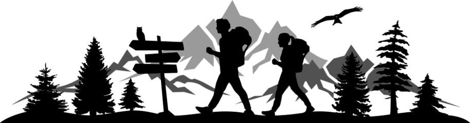 Fototapeta Hiking Travel Mountain Silhouette Vector
