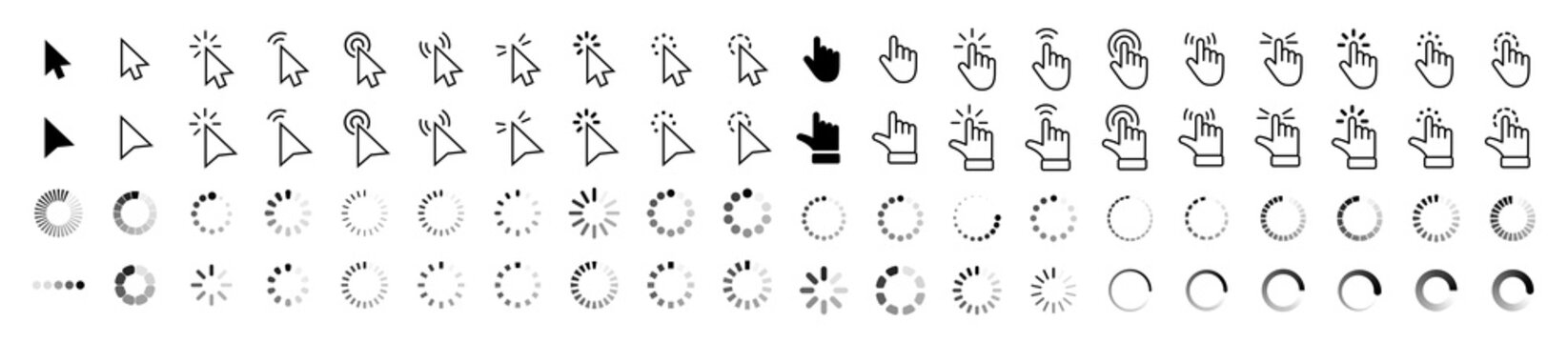 Computer mouse click cursor gray arrow icons set and loading icons. Cursor icon. Vector illustration. Mouse click cursor collection.