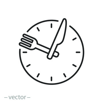 time eat lunch icon, hour healthy food, diet fast concept, break meal, clock with fork knife, thin line symbol on white background - editable stroke vector illustration