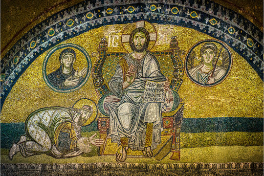 Mosaic in Hagia Sophia the Emperor Leo VI kneeling in front of Christ