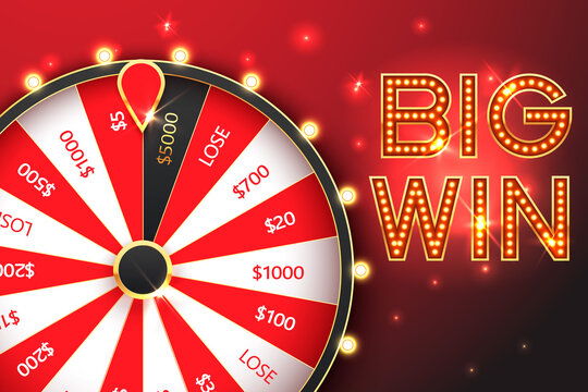 Casino spinning fortune wheel vector banner template. Rotating roulette, lottery game poster layout. Jackpot Big Win lightbulbs glowing sign. Gambling business. Game of luck playing