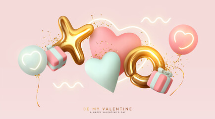 Fototapeta Romantic creative composition. Happy Valentine's Day. Realistic 3d festive decorative objects, heart shaped balloons and XO symbol, falling gift box, glitter gold confetti. Holiday banner and poster. obraz