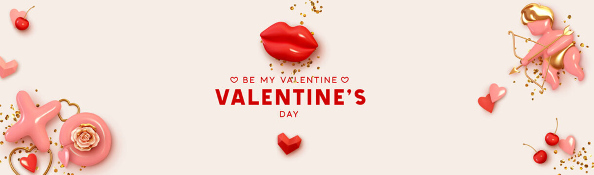 Happy Valentines Day horizontal header for website. Holiday decor realistic 3d object, love angel cupid, red lips, XO symbol, pair of cherries, render shape heart, Realism design banner and web poster