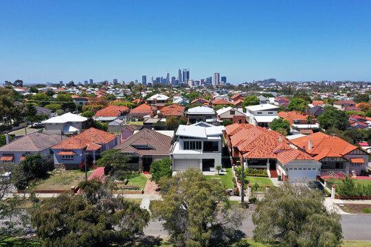 Aerial urban landscape  view of suburban cityscape in Perth Western Australia