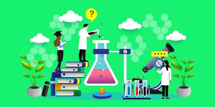 Research laboratory vector illustration concept, scientis working at laboratorium , vector background illustration