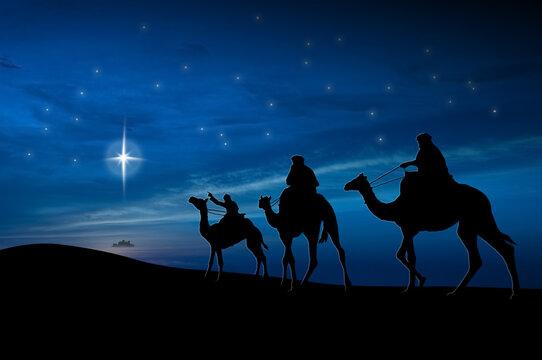 Christmas nativity scene of 3 wise men, following the big star to Bethlehem