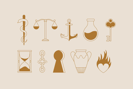 Vector logo design template in simple minimal style, magical and mystical symbols, tattoo signs
