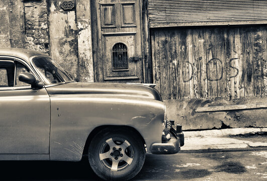 old car in the street